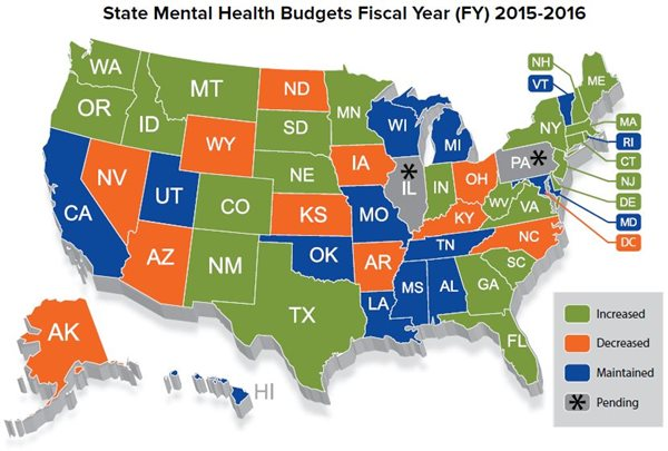 NAMI State Mental Health Budget Map